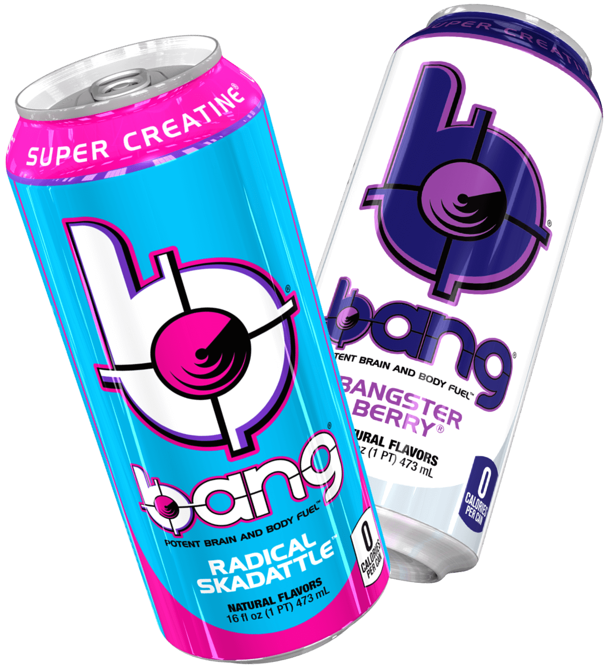 Bang Energy can image. Radical Skadattle and Bangster Berry flavors