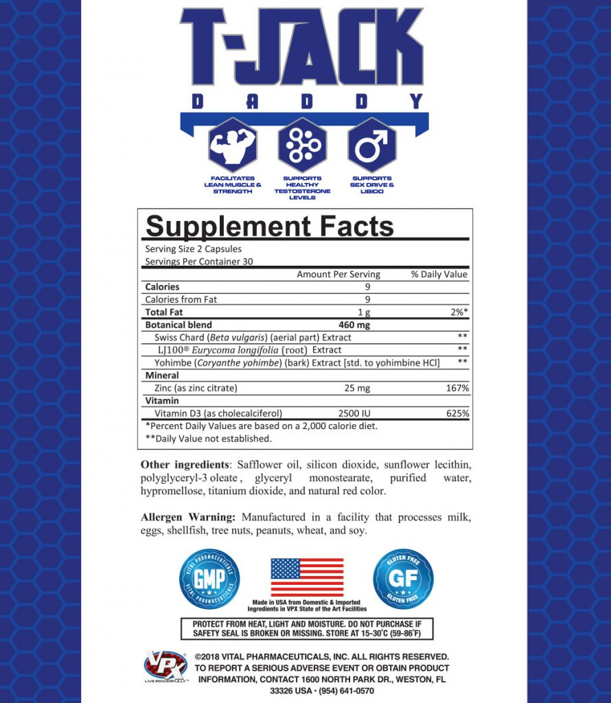 t jack daddy vpx sports supplement facts