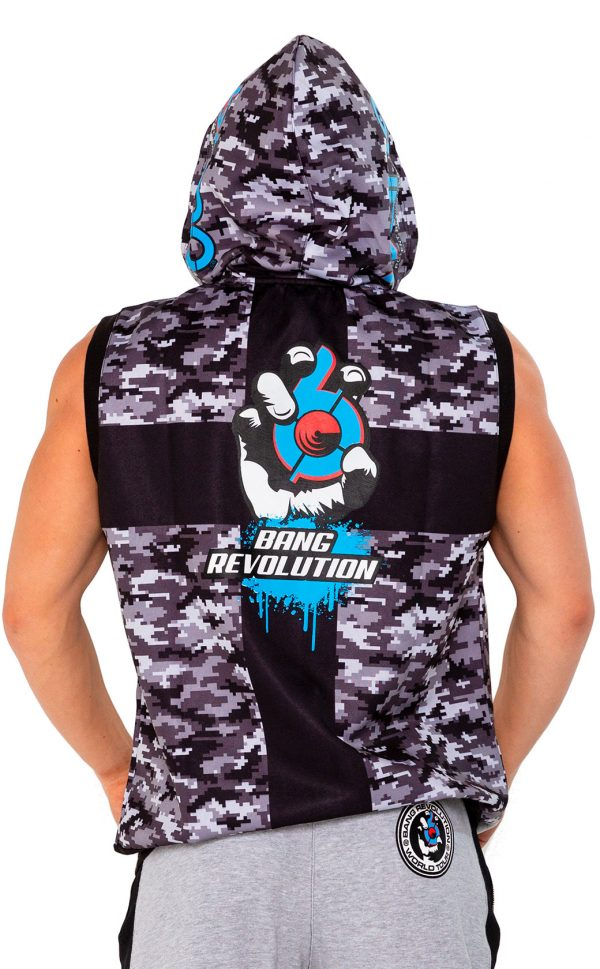 mens bang revolution-Hoodie-bluerazz back logo