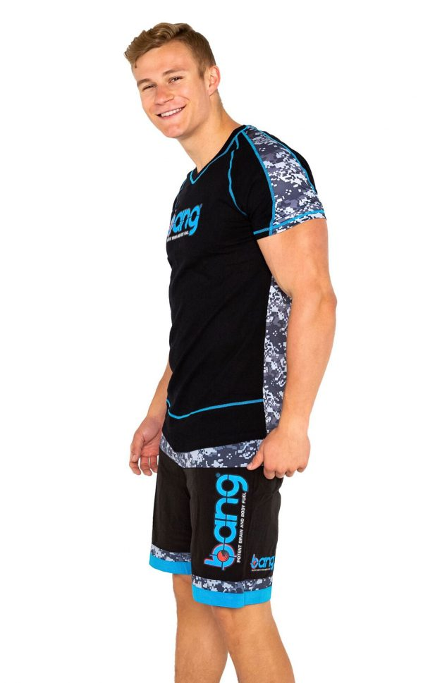 mens bang revolution-camo-vneck-blue razz-shirt shorts set 2