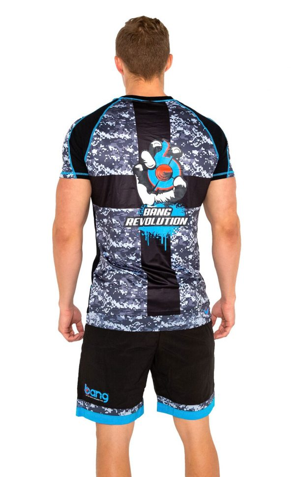 mens bang revolution-camo-vneck-blue razz-shirt shorts set