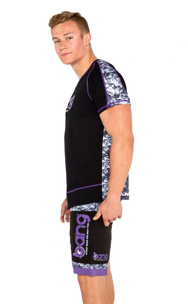 mens bang revolution-camo-vneck-purple haze-shirt shorts set 2