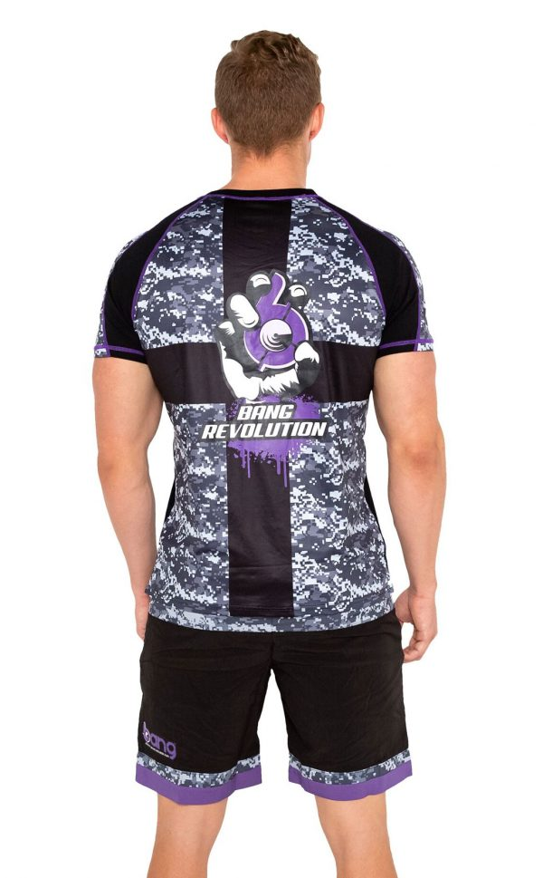 mens bang revolution-camo-vneck-purple haze-shirt shorts set