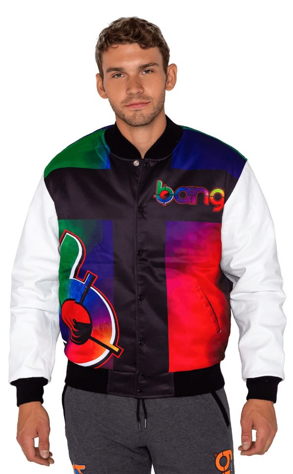 mens varsity jacket multi color bang energy