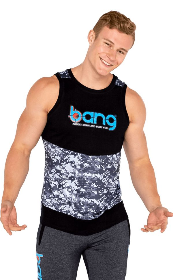 mens bang revolution-muscle-camo-blue razz -top 1