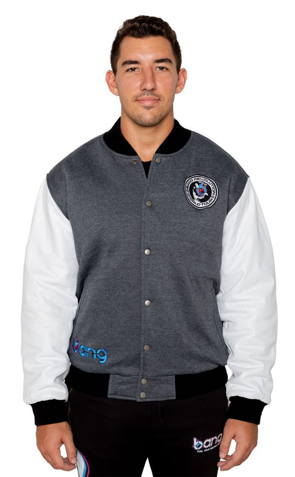 Bang Energy Revolution Team jacket front gray blue razz