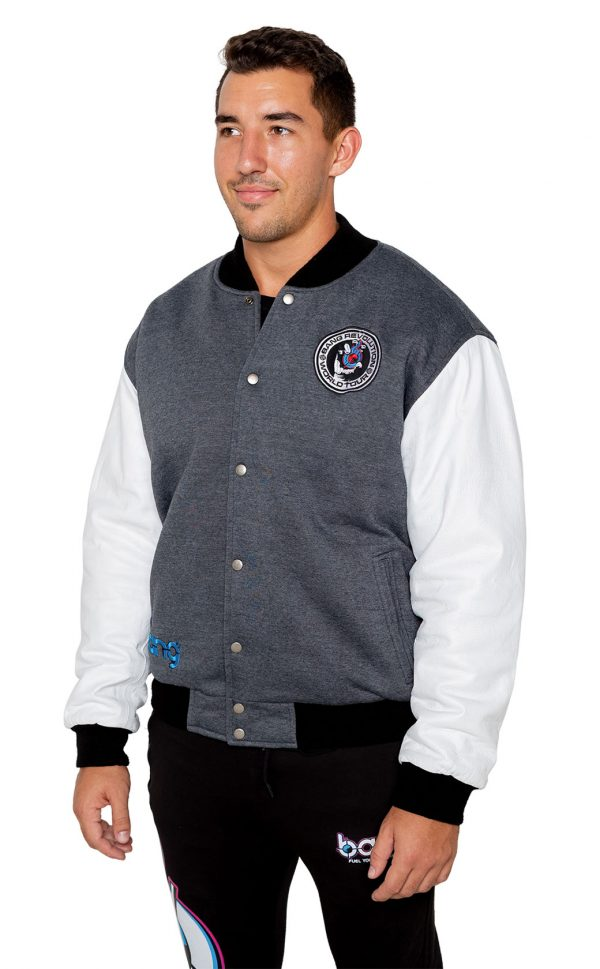 Bang Energy Revolution Team jacket left gray blue razz
