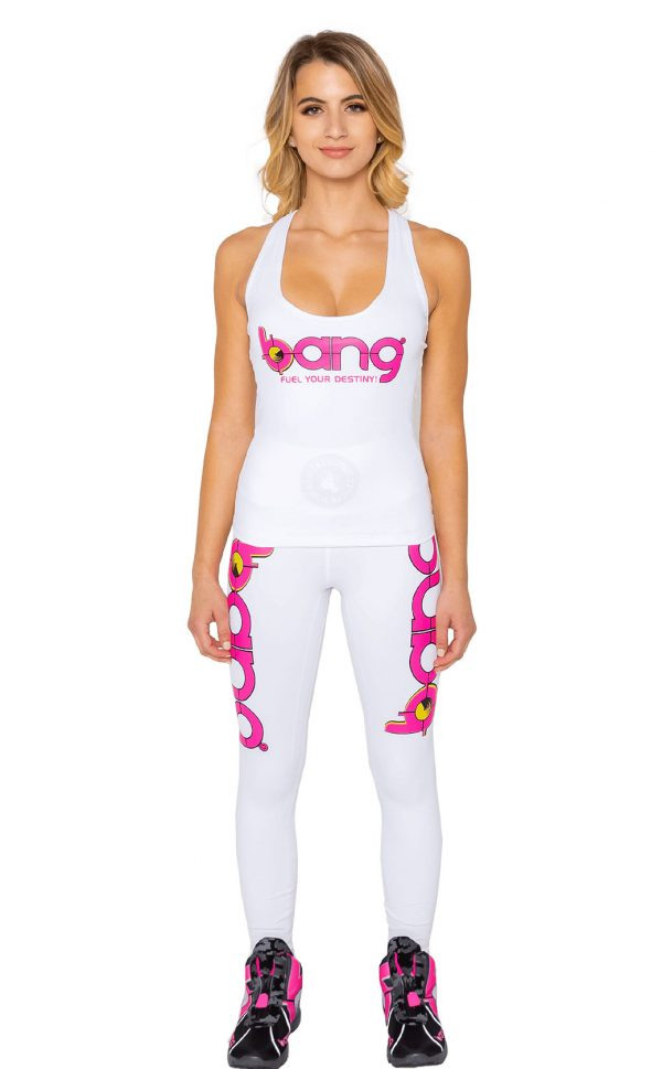 Womens bang energy white-Lattice-Tank and leggings