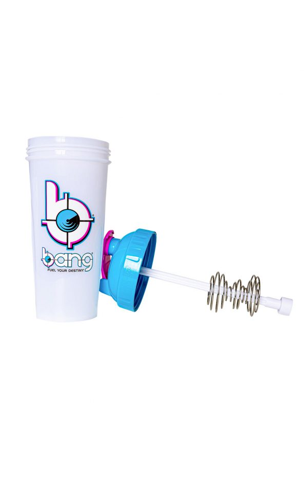 Bang Frosted Protein Shaker blue open lid