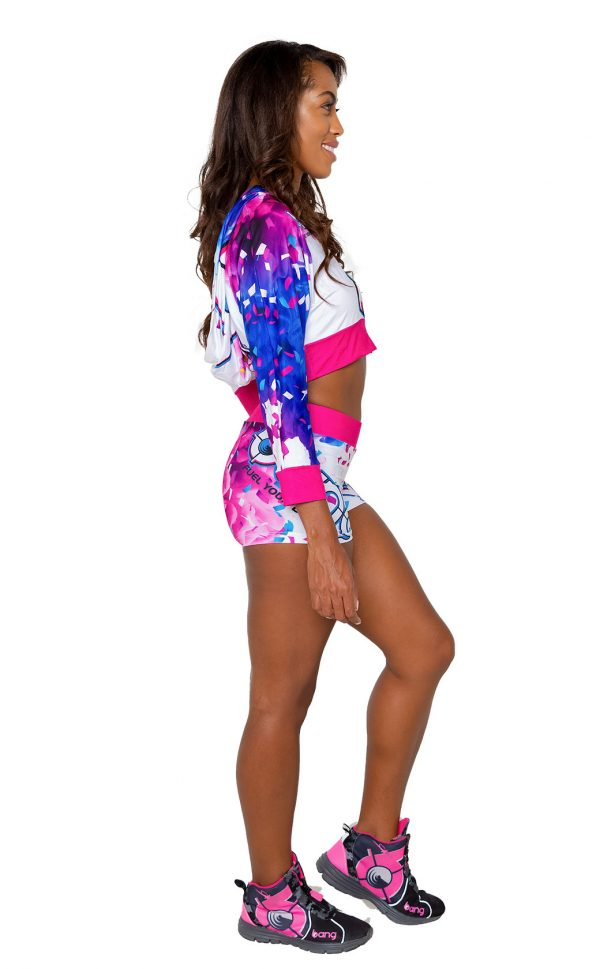 Birthday Cake Bash Cropped Women's Hoodie and Shorts full body side